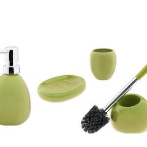 Ceramiczny zestaw łazienkowy ARTE oliwkowy 1