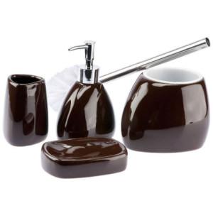 Ceramiczny zestaw łazienkowy LINEO brązowy  1120