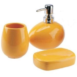 Zestaw łazienkowy Lineo żółty 3 elementyy