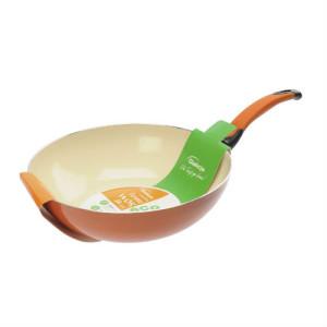 Patelnia Ceramiczna WOK  pomarańczowa 28cm art 4509 500x500 opakowanie