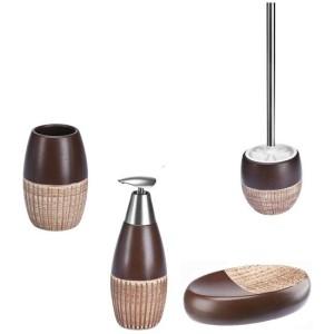 Ceramiczny zestaw łazienkowy Vulcano brązowy
