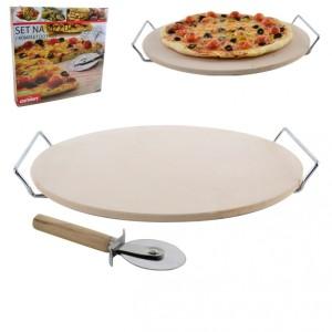 Kamień do pizzy z nożem i podstawką