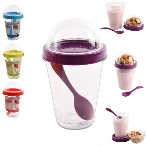 Pojemnik na jogurt z zasobnikiem na dodatki i łyżeczką