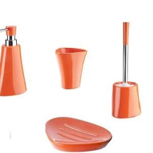 Ceramiczny zestaw łazienkowy SILVIA pomarańczowy